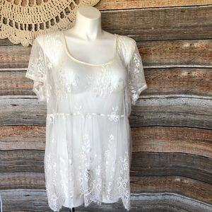 Torrid Cream white lace top